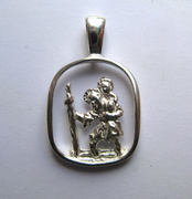 Sterling Silver Cut out oblong St Christopher pendant 1.73g